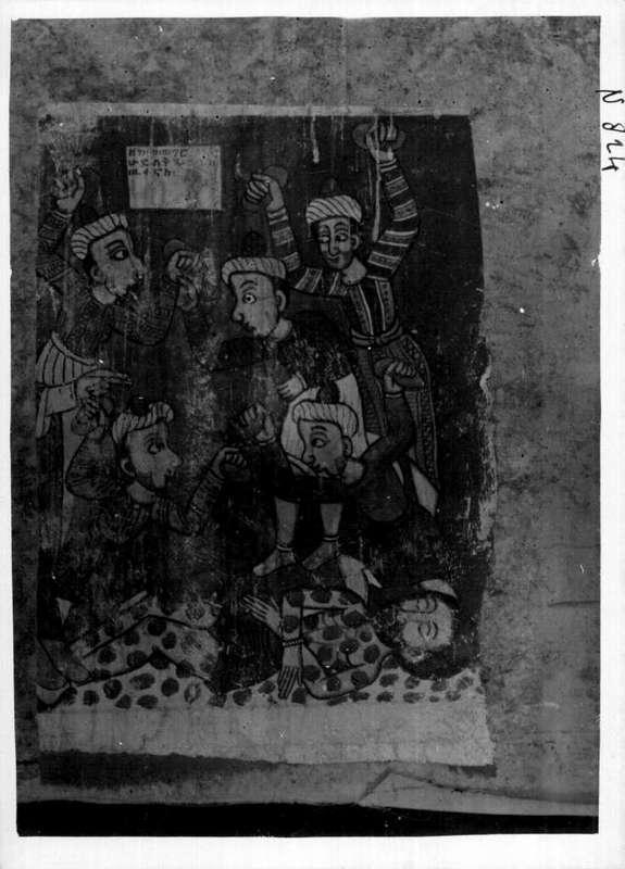 Peintures de l'église Antonios. Supplices de Jean Baptiste, mur Nord à gauche de la porte